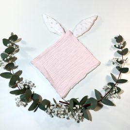 Doudou lapin rose bébé