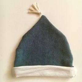 Bonnet bleu jersey côtelé