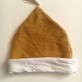 Bonnet jaune moutarde jersey côtelé