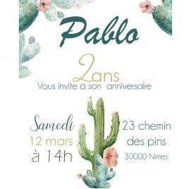 Invitation anniversaire – thème Cactus