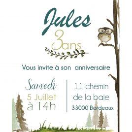 Invitation anniversaire – thème Forêt