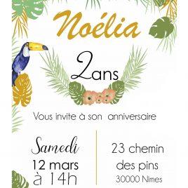 Invitation anniversaire – thème Tropical