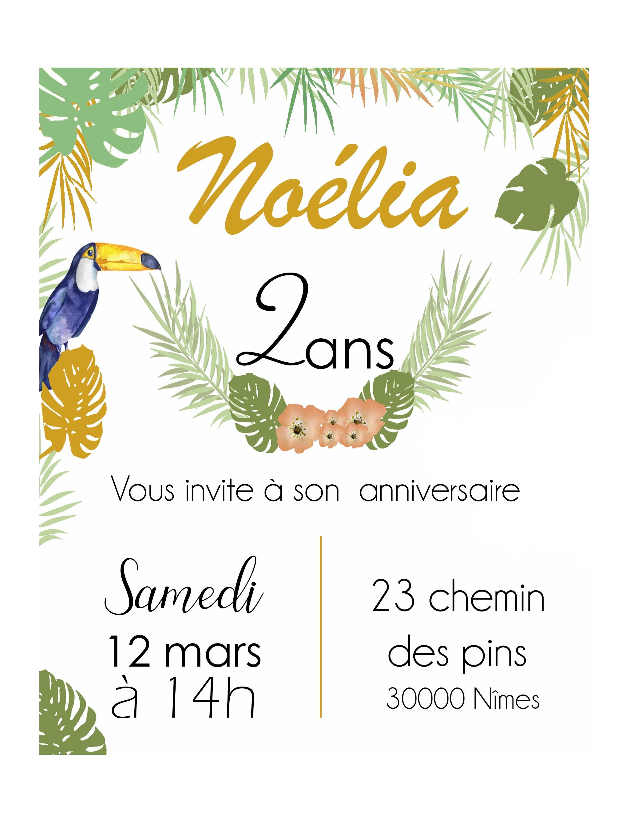 Invitation Anniversaire Theme Tropical