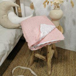 Couverture rose bébé pois or