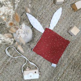 Doudou lapin terracotta