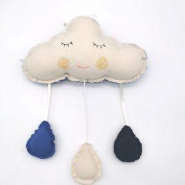 Coussin musical nuage goutte d'eau bleu