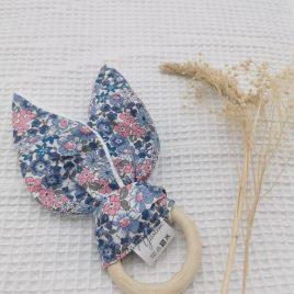 Anneau de dentition fleur bleu-rose