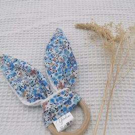 Anneau de dentition fleur bouton bleu